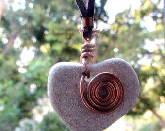 Natural Heart Shaped Beach Stone Pendant Israel  Necklace natural jewelry Solid Copper