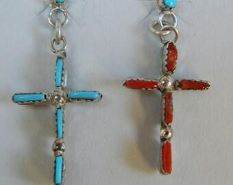 Native American Zuni Turquoise Coral Sterling Silver Handmade Reversible Cross Earrings