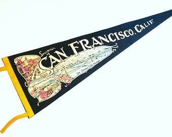 Vintage Mid Century San Francisco Golden Gate Bridge Pennant