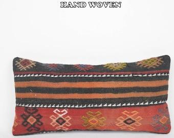 kilim throw pillow cover mustard lumbar pillow cover red kilim pillow cover hand crafted lumbar pillow case cool tribal pillow cover F3155