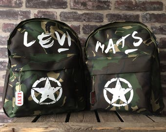 Kids Backpack Camouflage with name
