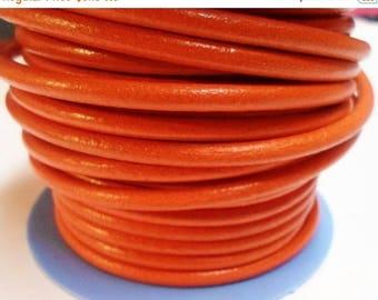 """Buy Now PRE CUT 40"""" 4.5mm Round Pumpkin Orange European Round Leather cord,"""