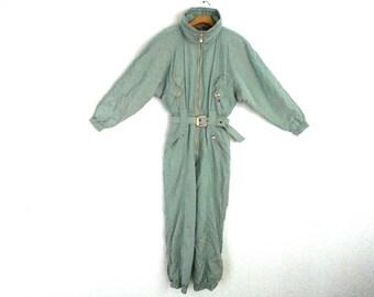 Vintage 90s Ski Suit Hooded Iridescent Colmar Women's  8