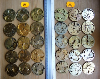 Set of 15 Antique Pocket Watch movements - Jewelry Art collage - Steampunk supplies - Steampunk supply - empty movement coin Metal art PW41