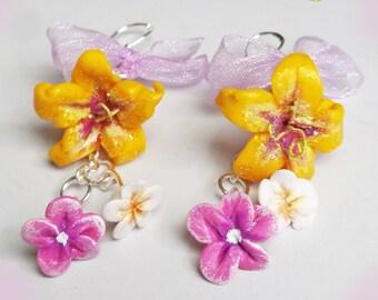 Earrings Flowers Rapunzel