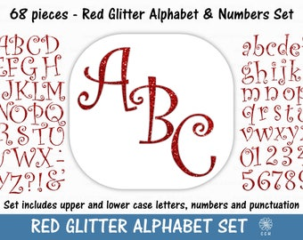 Red Glitter Digital Alphabet and Numbers Clipart Set - curly font style - Commercial Use - Instant Download