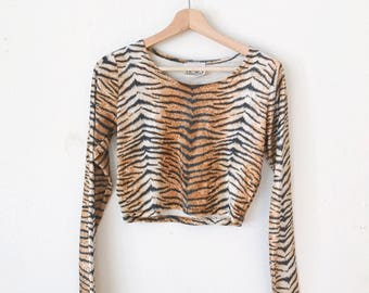 1980s Animal Print Crop Top