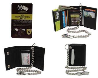 Men's 112 RFID Blocking Trifold  Steel Chain Wallet Biker Motorcycle Genuine Leather 13 Card Slots