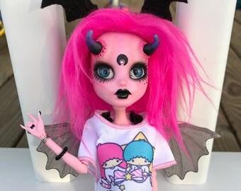 Custom OOAK Monster High Doll Reroot Repaint Demon by Soulcookiescodolly