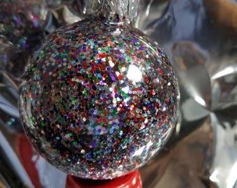 Multi color glitter globe ornament