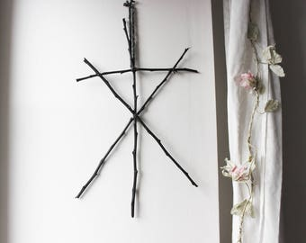 Call of the Witch Black. pagan viking witchcraft rune inspired wall hanging black twigs and wool .