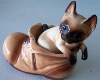 Siamese Vintage Cat In A Shoe Cute Figurine