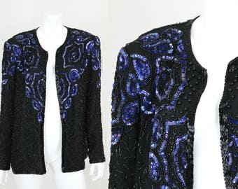 Vintage Sequin Jacket Black Blue Beaded Size XL Adrianna Papell Evening