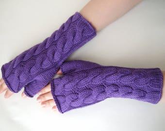 Knitted of 100 % soft MERINO wool. PURPLE fingerless gloves, fingerless mittens, wrist warmers. Handmade.