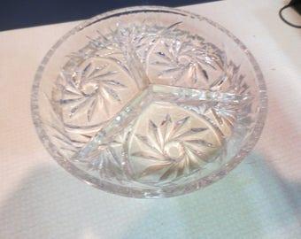 Vintage cut glass divided bowl pinwheel design