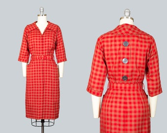 Vintage 50s Red Checkered Wiggle Dress with Pockets | 1950s Cotton Big Button Plaid Shirtwaist Day Dress (small)