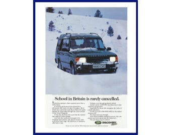 "1996 LAND ROVER DISCOVERY Original 1995 Vintage Color Print Advertisement - ""School In Britain Is Rarely Cancelled.""  Winter Snow Scene"