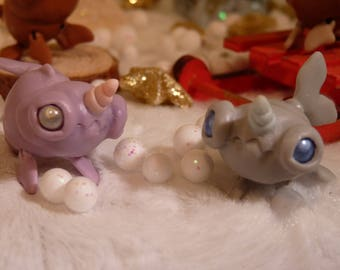 """Tendres Chimeres: Narvalicornes the micro Narwals , """"Poudre"""" and """"Argent"""" OOAK"""