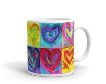Watercolor Hearts Mug