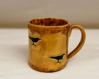 Dirt Brown Road Crow Mug, Coffee Mug, Stoneware Ceramic Mug