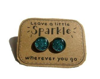 GLITTER STUD EARRINGS - Turquoise Glitter Earring - Turquoise Blue Green Glitter - turqoise jewelry - turquoise earrings
