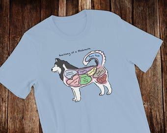 Anatomy of an Alaskan Malamute - Funny Alaskan Malamute Dog Tee - Light Colors - Unisex short sleeve t-shirt