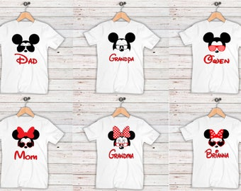 Family  Shirts, Printable Iron on Transfer, Print at Home,  Mickey and Minnie Glasses, DIGITAL