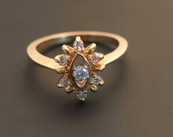 Beauty - 14K Yellow Gold Seven Diamond Cluster Ring -  1/4 Carat Total Weight
