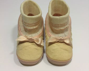 Vintage Baby Shoes - Size 1 - 50's Baby Shoes - Baby Girl Shoes - Vintage Crib Shoes - 50's Crib Shoes - Baby Ballet Flats