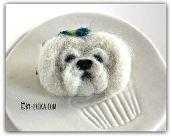 Brooch felted bichon