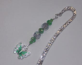 Green Glass and Crystal Enameled Green Butterfly Bookmark