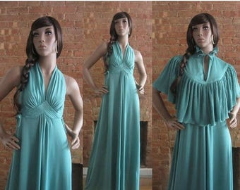 December Sale 1970s seafoam green grecian maxi dress | 70's Boho