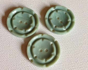 3 vintage early plastic buttons turquoise blue
