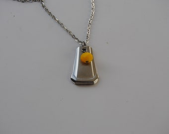 Flatware Pendent with Glass bead Necklace