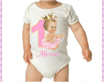 Birthday Vintage Baby In Pearls; Onezee Or Dress And Personalized For Free; Name And Number Color Can Change Fast Shipping; 6 Months  And Up