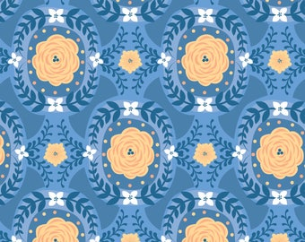 Damask in Blue, Do What You Love, Camelot Fabrics, Alisse Courter, fabric by the yard, yellow flowers, medallion fabric, summer fabric