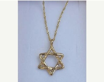 SALE Star Of David Pendant,14K Yellow Gold Pendant ,Star Of David Necklace , Handmade Gold Jewish Star, Star Of David Jewelry,Jewish Star Pe