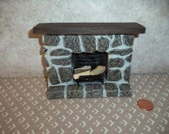 1:12 scale Dollhouse miniature Gray Stone Fireplace