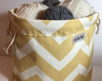 All new completely lined canvas/denim drawstring bag with handle -golden yellow and cream chevron fabric with neutral lining