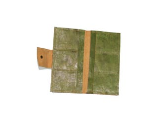 Handmade green leather wallets