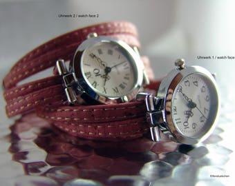 Damen Armbanduhr Kork Uhr Wickelarmbanduhr Wickeluhr vegan Jeans Rot silber - Armband Uhr Geschenk für sie beste Freundin Ehefrau