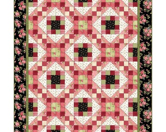 Maywood Welcome Home Shabby Rose Floral Pink Green Flannel Complete Quilt Kit 60 x 72 Fabric