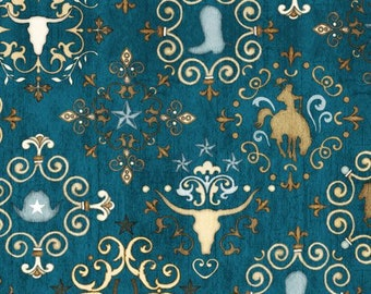Quilting Treasures Teal Blue Unbridled Horses Western Medallion Country Horse Fabric BTY 24694-Q