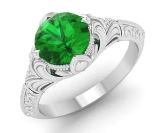Emerald Engagement Ring, 14K White Gold, Vintage Ring Gold, Anniversary Ring, Wedding Ring, Solitaire Engagement Ring, Gemstone Emerald Ring
