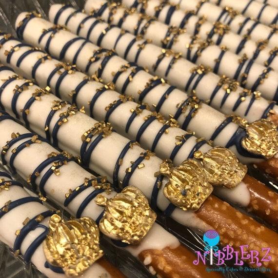 12 Royal Prince Chocolate Pretzel Rods Baby Shower Dessert Table
