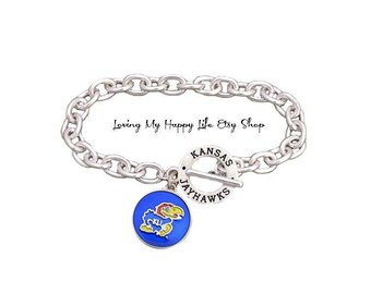 KANSAS, JAYHAWKS, Charm, BRACELET, Cable Chain, with University Name, and Athletics Team Name Toggle Clasp, buy 2 get 1 free