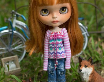 Goin' To Albuquerque. Sweet Cotton Tee Top For Blythe Doll