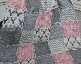 Baby Girl Rag Quilt,Crib Quilt, Pink Deer Baby Quilt, Grey And Pink  Rustic Quilt,Arrows,Baby Rag Quilt, Ready To Ship