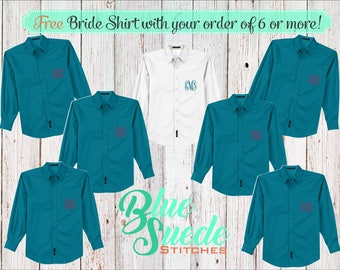 Monogram Button Down Shirts 6 or more - Bridesmaid oxford shirts | monogrammed oxford shirts | getting ready shirts | bridal party gifts