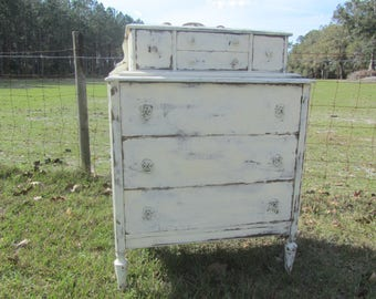 Chest On Chest Of Drawers, dresser, shabby chic furniture, white dresser, farmhouse decor, bedroom decor, solid wood